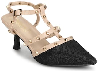 Truffle Collection Black Nude Studded Strappy Kitten Heels