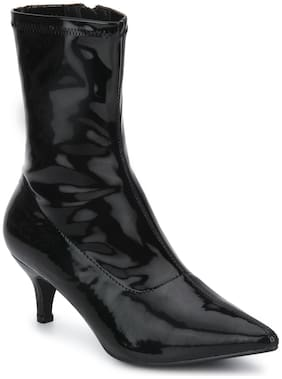 Black Patent Low Heel Sock Ankle Boots