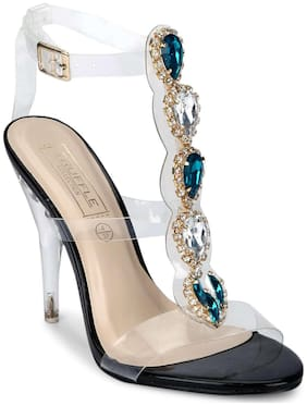 Truffle Collection Black Perspex Jeweled Strappy Stilettos