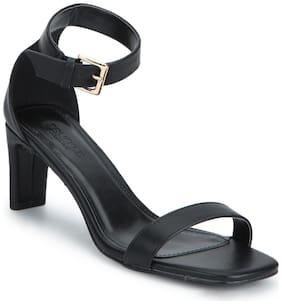 Black PU Ankle Strap Low Slim Block Heels