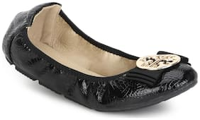 Truffle Collection Black PU Bow Belly Flats