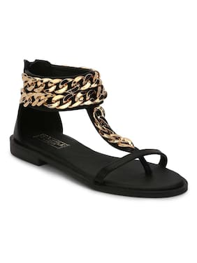 47ca0bba9e3 Truffle Collection Black PU Chain Detailed Ankle Strap Flats