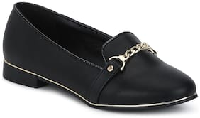 Black PU Chained Belly Flats