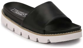 Truffle Collection Black PU Cleated Slip-On Flats