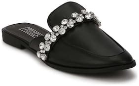 Truffle Collection Black PU Diamante Open Back Loafer Flats