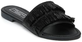Truffle Collection Black PU Frilled Slip-On Flats