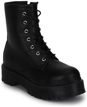 Black PU Lace-Up Cleated Platform Ankle Boots