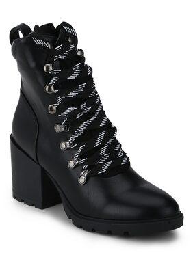 Black PU Lace-Up Block Heel Biker Ankle Length Boots