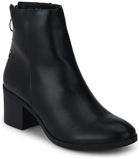 Black PU Low Heel Studded Ankle Length Boots