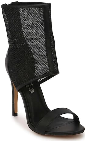 Truffle Collection Black PU Perspex Sock Stilettos