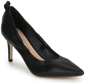 Truffle Collection Black PU Pointed Toe Pump Stilettos