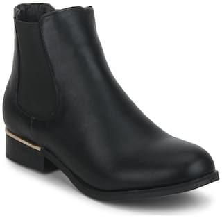Truffle Collection Black PU Round Toe Flat Ankle Length Boots