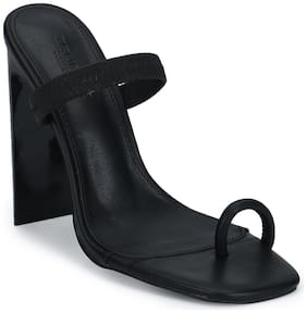 Black PU Slip-On Slim Block Heels