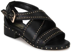 Truffle Collection Black PU Studded Crossover Low Heel Sandals