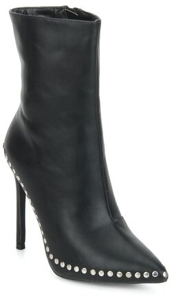 Truffle Collection Black PU Stud Detail Stiletto Heel Boots