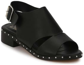 Truffle Collection Black PU Studded Low Heel Sandals