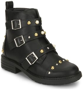 Truffle Collection Black PU Stud and Buckle Detail Ankle Boots