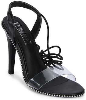 Truffle Collection Black PU Studded Perspex Lace-up Stilettos
