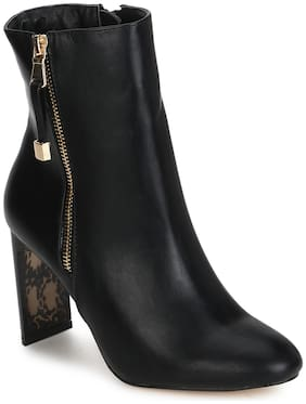 Truffle Collection Black PU Zip Slim Block Heel Ankle Length Boots