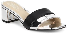 Truffle Collection Black Silver Low Block Sandal Heels