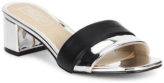 Truffle Collection Black Silver Low Block Sandal Heels