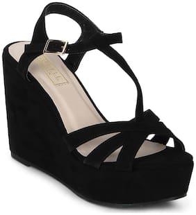 Truffle Collection Black Strappy Peep Toe Ankle Strap Wedges