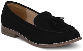 Black Suede Tassel Loafer Flats