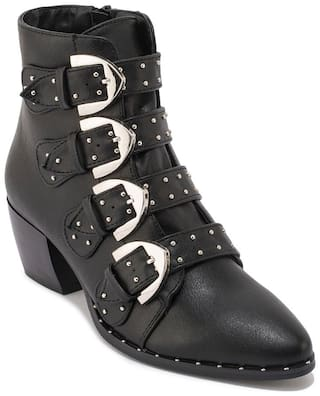 Truffle Collection Black Synthetic Buckle Stud Detail Ankle Boot