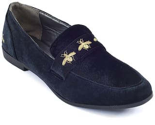 Truffle Collection Black Velvet Bee Detail Flat Slip On Casual Shoes