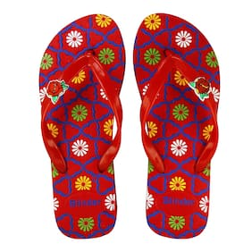 c53945e107eaff Blinder Women s Red Comfortable Slip-On Cushion Trendy Rubber Slipper and  Flip-Flop