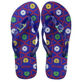 ea6abb674e514e Blinder Women s Blue Comfortable Slip-On Cushion Trendy Rubber Slipper and  Flip-Flop