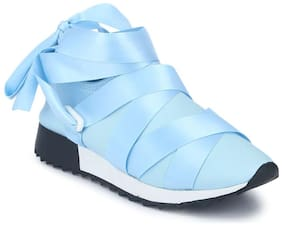 Truffle Collection Blue Lycra Lace-Up Slip-On Sneakers