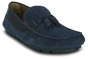 Blue-suede Leather-loafers