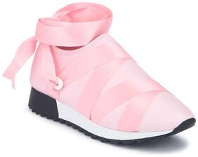 Truffle Collection Blush Lycra Lace-Up Slip-On Sneakers