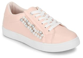Truffle Collection Blush PU Pearl Detail Lace-Up Sneakers