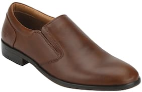 Men Tan Slip-On Formal Shoes