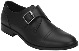 Bond Street Men Black Monk Shoes - BSE0361 - BSE0361