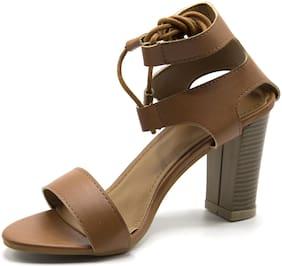 Brauch Women's Brown Lace up Block heels