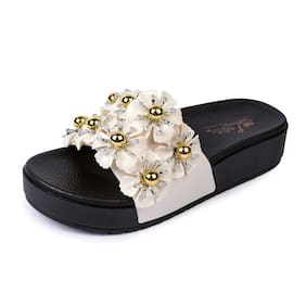10358ab1b Brauch Women s White Floral Pearl Slippers