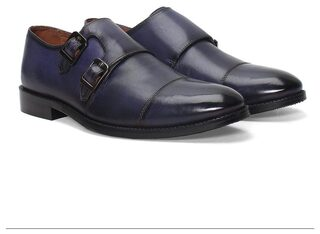BRUNE BLACK / BLUE TWO TONE LEATHER DOUBLE MONK FORMAL SHOES