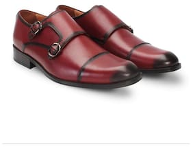 18a6815fd07 BRUNE WINE COLOR HAND PAINTED HAND CRAFTED GENUINE LEATHER DOUBLE MONK  STRAP SHOE FOR MEN