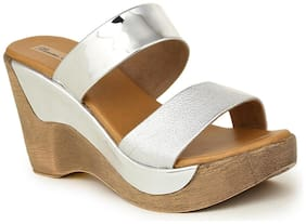 Bruno Manetti Women Silver Faux Leather Wedges