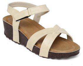 Bruno Manetti Women Beige Faux Leather Sandals