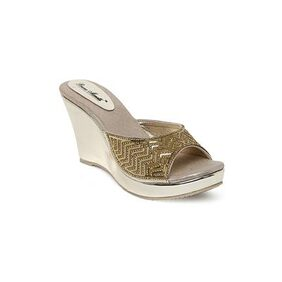 Bruno Manetti Women Golden Faux Leather Wedges