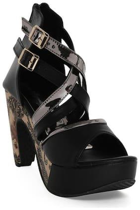Bruno Manetti Women Black Faux Leather Heels