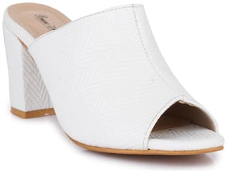 Bruno Manetti Women White Faux Leather Block Heel