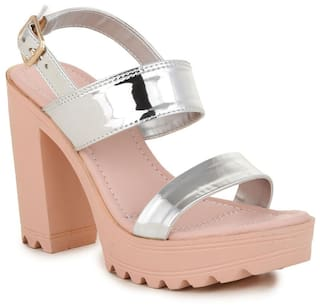 2033983ac8a Buy Bruno Manetti Women Silver Patent Leather Block Heels Online at ...