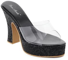 Bruno Manetti Women Glitter Black Plastic Block Heel