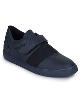 Bruno Manetti Men Navy Blue Synthetic Leather Sneakers