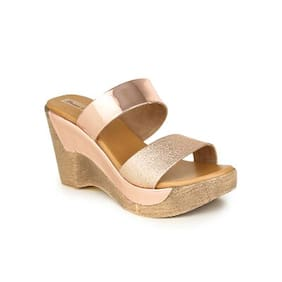 Bruno Manetti Women Rose Gold Faux Leather Wedges